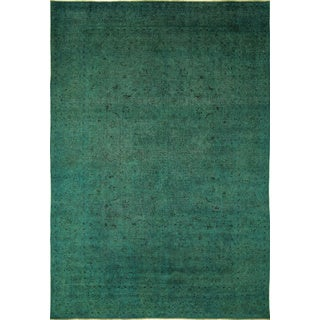 Distressed Lindsay Teal Green Hand-Knotted Rug (8'10 x 12'10)
