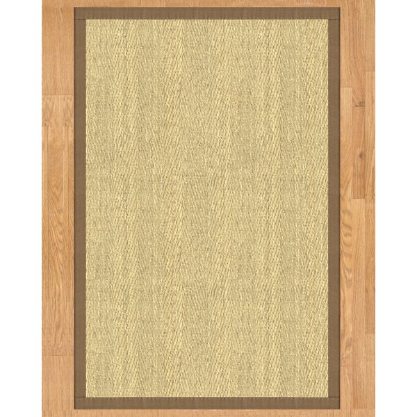 Natural Area Rugs Handcrafted Costa Rica Natural Seagrass Runner Rug with Taupe Binding (2'6 x 8')