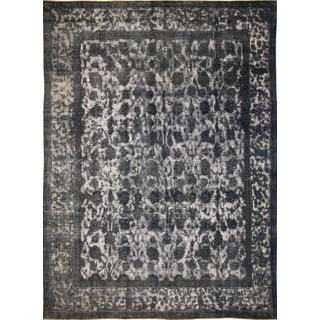 Distressed Emerson Blue Hand-Knotted Rug (9'8 x 12'11)