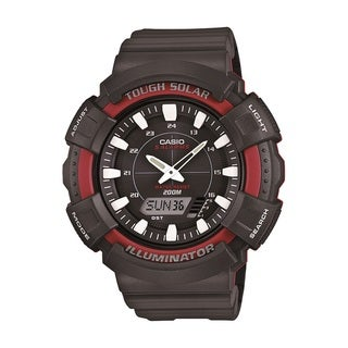 Casio Mens Solar Watch with Black Resin Band