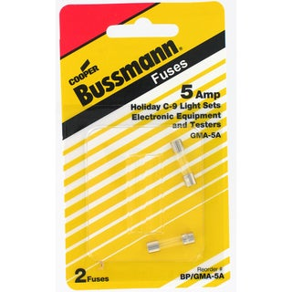Bussmann Electronic Fuse 5 amps 250 volts 5 mm Dia. x 20 mm L 2 pk For Electronic Circuits