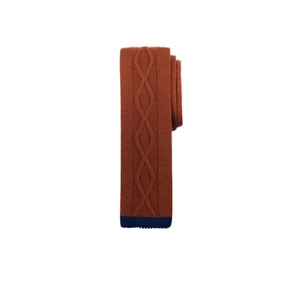 Men's Center Line Rust Blue Wool Cable Knit Tie