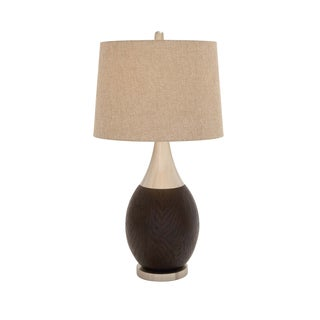 Benzara Curvaceous Black and Brown Polystone 9-inch x 9-inch x 33-inch Multidirectional Metal Table Lamp