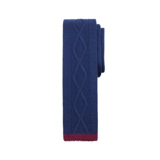 Men's Navy and Burgundy Wool Center Line Cable-Knit Tie