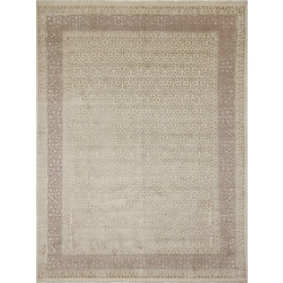 Indo Tabriz Sutton Ivory Hand-Knotted Rug (8'0 x 10'2)