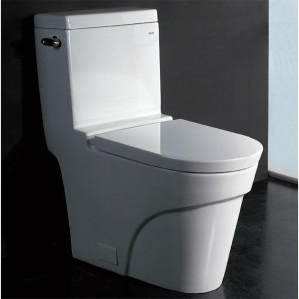 EAGO TB326 White Porcelain 1 Piece Ultra Low Flush Eco Friendly Toilet
