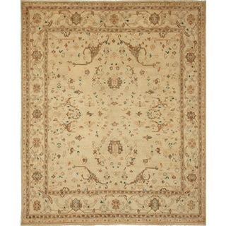 Peshawar Grover Beige Hand-Knotted Rug (7'11 x 9'5)