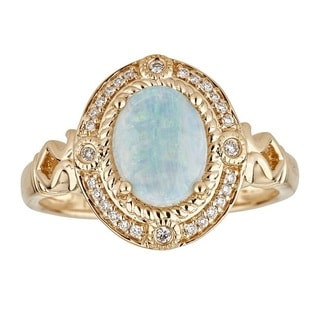 Anika and August 14K Yellow Gold Oval-cut Australian Opal and Diamond Ring