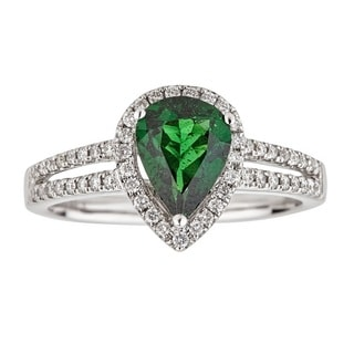 Anika and August 14k White Gold 1/3ct TDW Diamond and Pear-cut Tsavorite Ring (G-H, I1-I2)