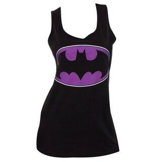 Women's Batman Logo Black/Purple Cotton Tank