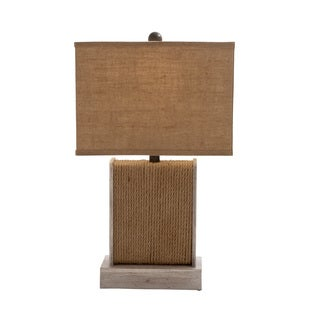 Benzara Wooden Rope-designed Table Lamp (9 x 5 x 24)