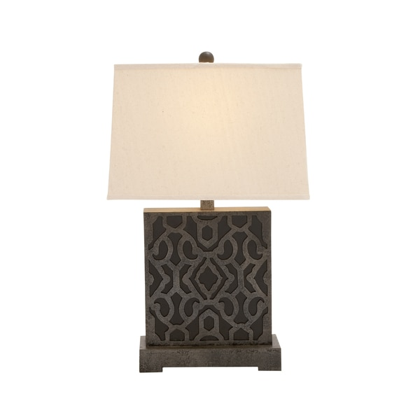 benzara square wooden table lamp free shipping today 18757092. Black Bedroom Furniture Sets. Home Design Ideas