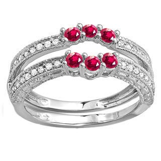 14k White Gold 5/8ct TDW Round Ruby and White Diamond Anniversary Enhancer Guard (H-I, I1-I2)