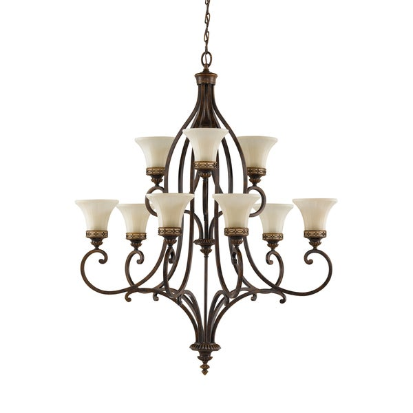 Feiss Drawing Room 9 Light Walnut Chandelier