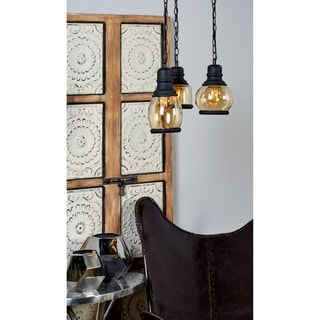 Benzara 60715 Natural Finish Metal Glass Lamp