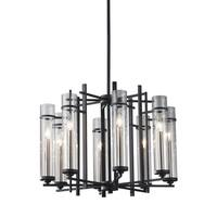 Feiss Ethan 8 Light Antique Forged Iron / Brushed Steel Chandelier