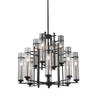 Feiss Ethan 12 Light Antique Forged Iron / Brushed Steel Chandelier