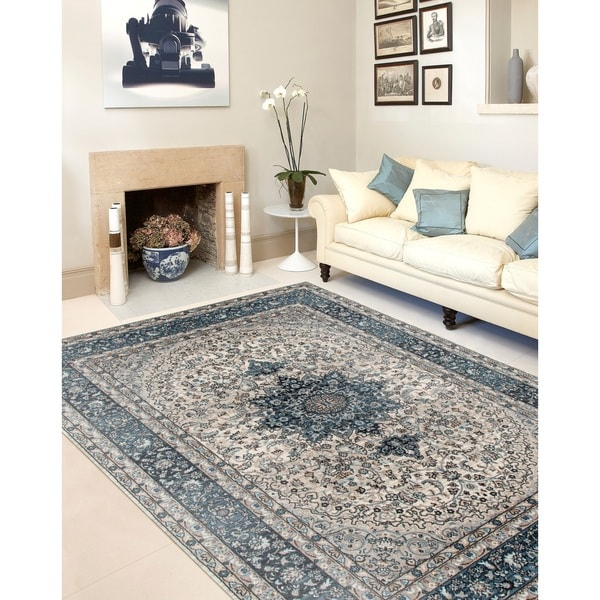 Traditional Oriental Blue High Quality Medallion Design Area Rug - 7'10 x 10' 2