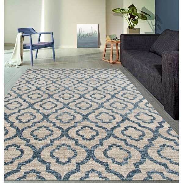 "Moroccan Trellis Pattern High Quality Soft Blue Area Rug - 7'10"" x 10'2"""