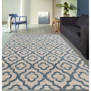Moroccan Trellis Pattern High Quality Soft Blue Area Rug (7'10 x 10'2)