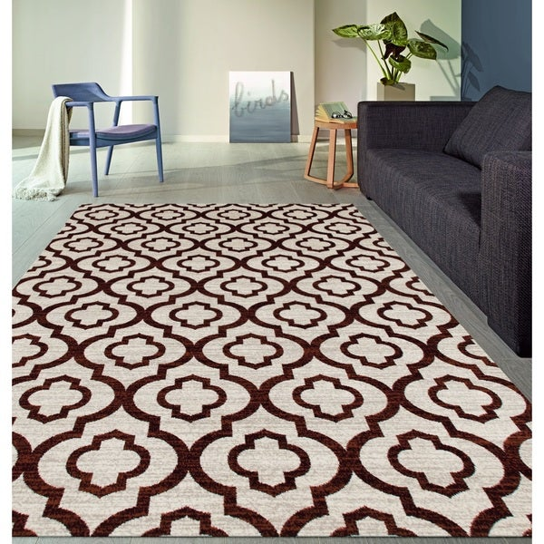 Moroccan Trellis Pattern High Quality Soft Red Area Rug - 7'10 x 10'2