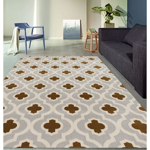 "Moroccan Trellis Pattern High Quality Soft Light Gray-Yellow Area Rug (7'10 x 10'2) - 7'10"" x 10'2"""