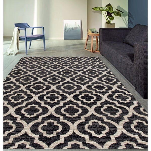 Moroccan Trellis Pattern High Quality Soft Gray Area Rug - Grey - 7'10 x 10'2