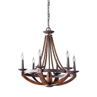 Feiss Adan 6 Light Rustic Iron / Burnished Wood Chandelier