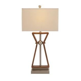 Benzara Wood and Stainless Steel Task Desk Lamp
