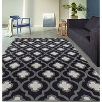 Moroccan Trellis Pattern High Quality Soft Dark-Gray Area Rug - Grey - 7'10 x 10'2