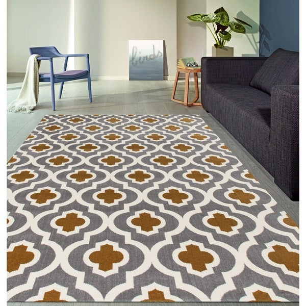"Moroccan Trellis Pattern High Quality Soft Dark Gray-Yellow Area Rug - 7'10"" x 10'2"""