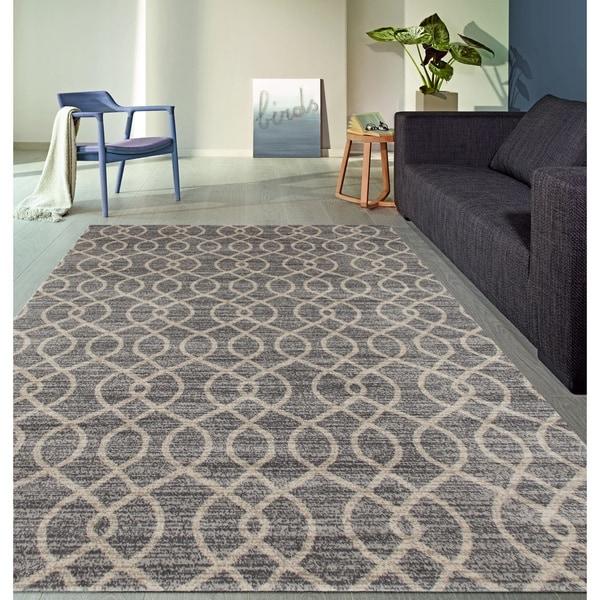 "Modern Trellis High Quality Soft Gray Area Rug - 7'10"" x 10'2"""
