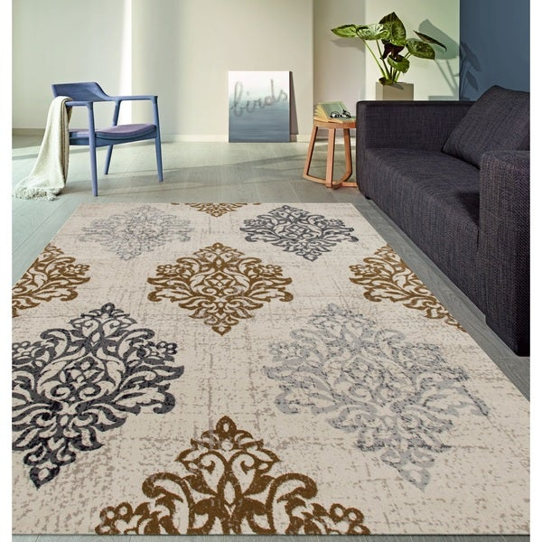 Transitional Damask High Quality Soft Yellow Area Rug - 7'10 x 10'2