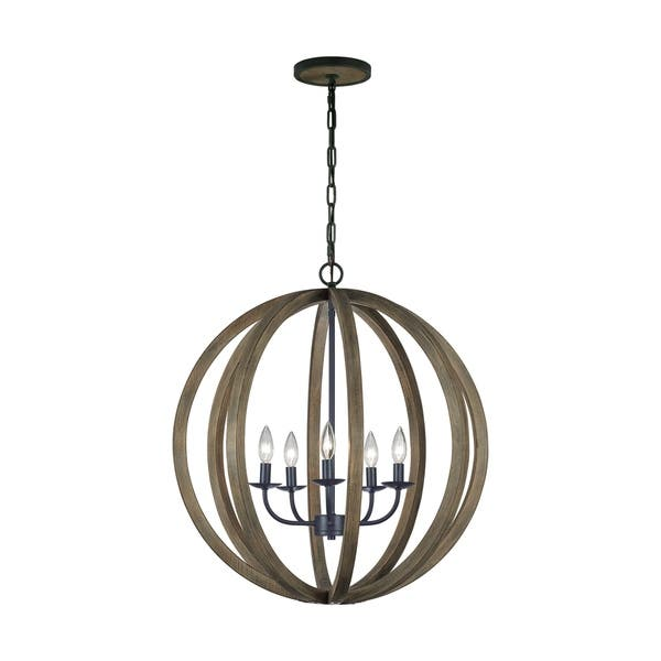 Feiss 5 Light Weathered Oak Wood Antique Forged Iron Chandelier