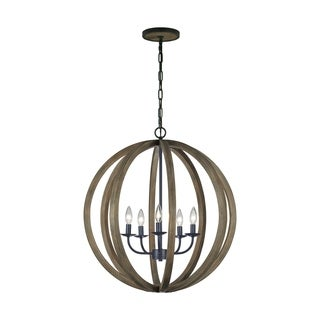 Feiss 5 Light Weathered Oak Wood / Antique Forged Iron Chandelier