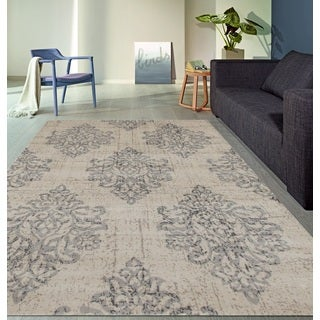 Transitional Damask High Quality Soft Gray Area Rug (7'10 x 10'2)