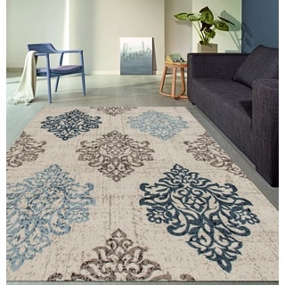 Transitional Damask High Quality Soft Blue Area Rug (7'10 x 10'2)