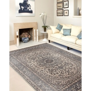 Traditional Oriental Gray High Quality Medallion Design Area Rug (5'3 x 7'3)
