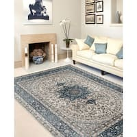 "Traditional Oriental Blue High Quality Medallion Design Area Rug - 5'3"" x 7'3"""
