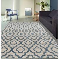 "Moroccan Trellis Pattern High Quality Soft Blue Area Rug - 5'3"" x 7'3"""