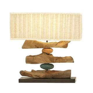 Benzara Striking Wood Metal PS Table Lamp