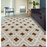 "Moroccan Trellis Pattern High Quality Soft Light Gray-Yellow Area Rug (5'3 x 7'3) - 5'3"" x 7'3"""