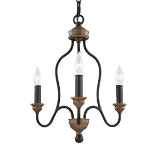 Feiss 3 Light Dark Weathered Zinc / Weathered Oak Chandelier