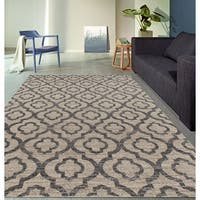 Moroccan Trellis Pattern High Quality Soft Cream Area Rug - 5'3 x 7'3