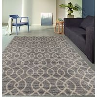Modern Trellis High Quality Soft Gray Area Rug - 5'3 x 7'3