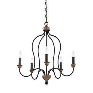 Feiss 5 Light Dark Weathered Zinc / Weathered Oak Chandelier