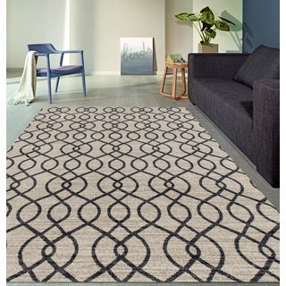 Modern Trellis High Quality Soft Cream Area Rug (5'3 x 7'3)