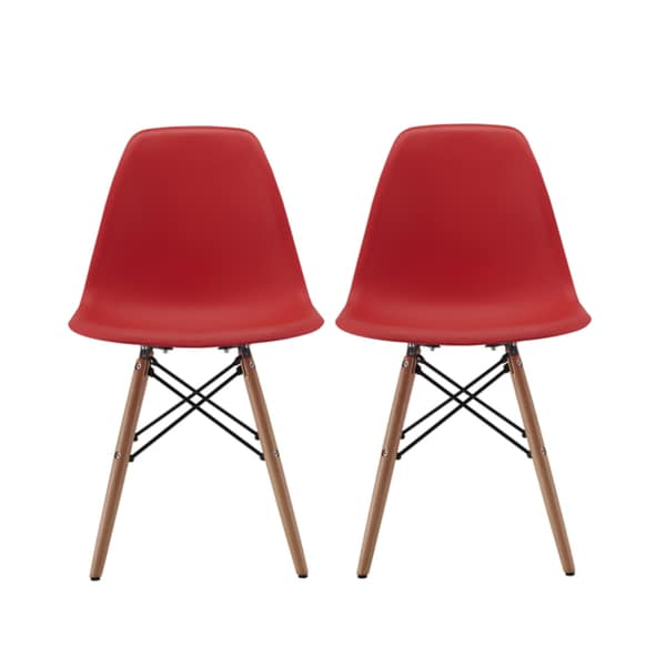 Modern Chair Natural Wood Legs In Color White Black And Red Dining Chairs Set