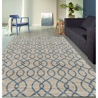 Modern Trellis High Quality Soft Blue Area Rug (5'3 x 7'3)