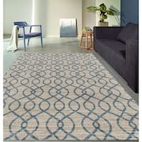 "Modern Trellis High Quality Soft Blue Area Rug - 5'3"" x 7'3"""